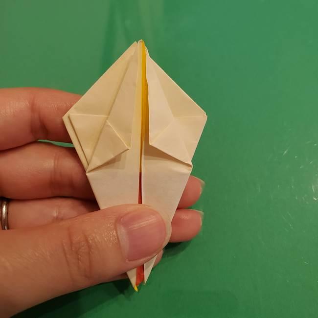 折り紙のひまわり 立体的で少し難しい作り方折り方②折る(23)