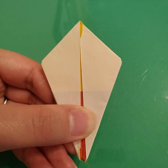 折り紙のひまわり 立体的で少し難しい作り方折り方②折る(24)