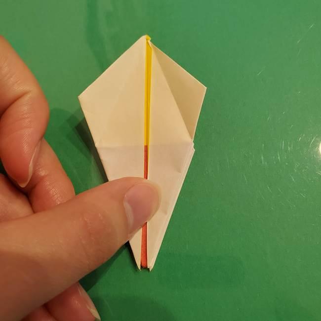 折り紙のひまわり 立体的で少し難しい作り方折り方②折る(26)