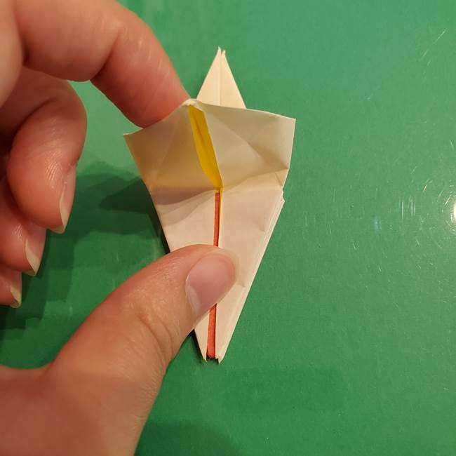 折り紙のひまわり 立体的で少し難しい作り方折り方②折る(27)