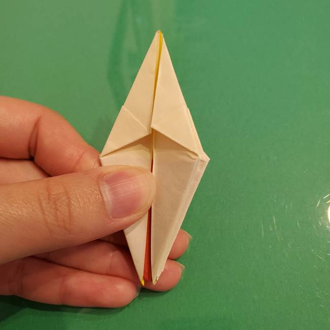 折り紙のひまわり 立体的で少し難しい作り方折り方②折る(32)