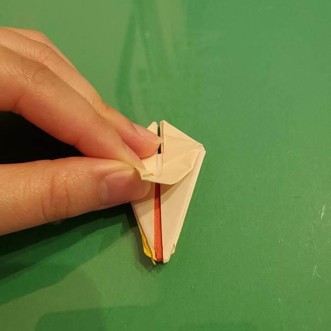 折り紙のひまわり 立体的で少し難しい作り方折り方②折る(34)