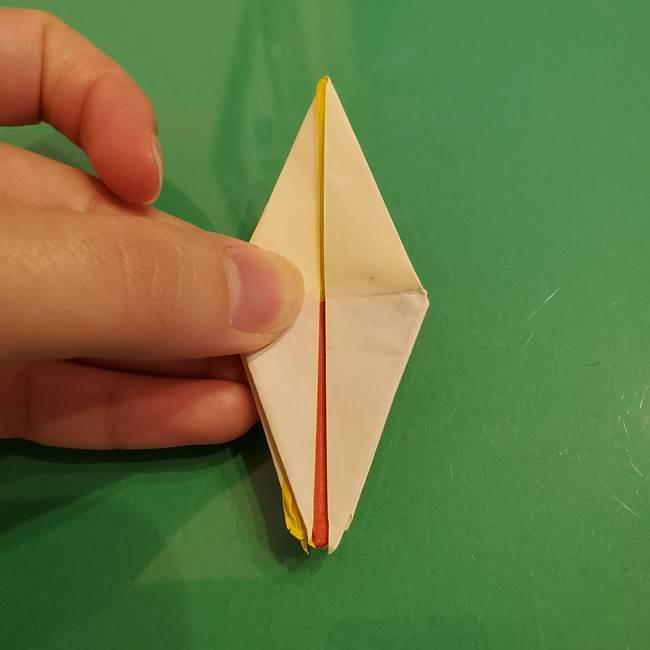 折り紙のひまわり 立体的で少し難しい作り方折り方②折る(35)