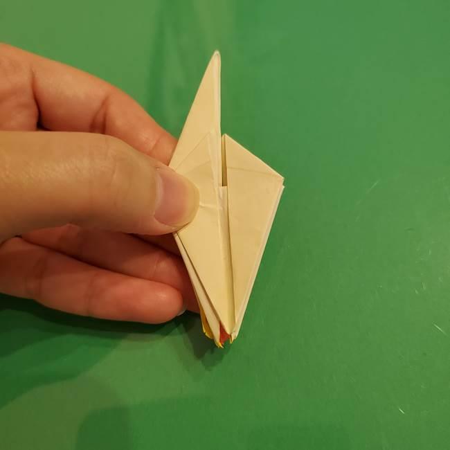 折り紙のひまわり 立体的で少し難しい作り方折り方②折る(36)