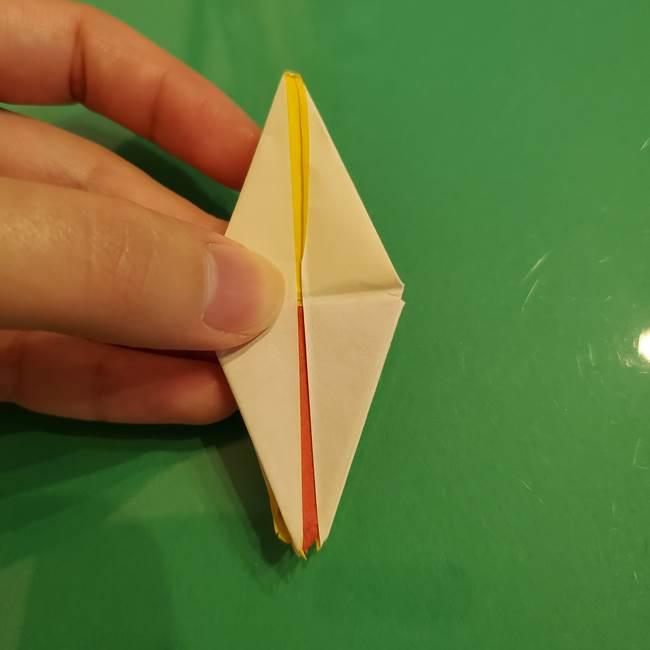 折り紙のひまわり 立体的で少し難しい作り方折り方②折る(37)