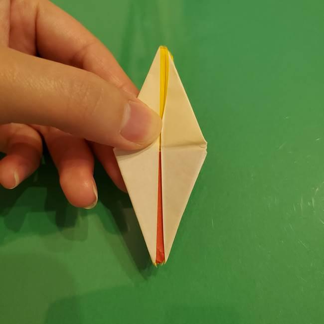 折り紙のひまわり 立体的で少し難しい作り方折り方②折る(39)
