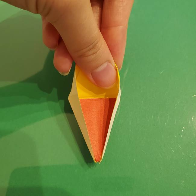 折り紙のひまわり 立体的で少し難しい作り方折り方②折る(40)