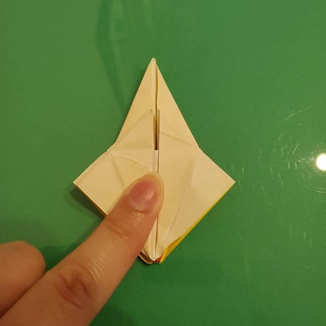 折り紙のひまわり 立体的で少し難しい作り方折り方②折る(44)
