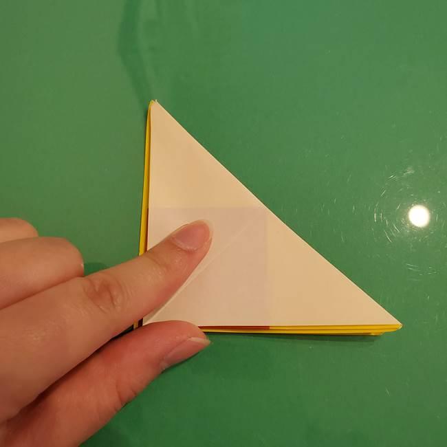 折り紙のひまわり 立体的で少し難しい作り方折り方②折る(5)