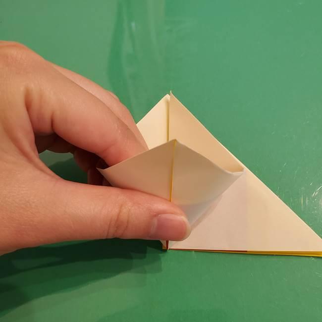 折り紙のひまわり 立体的で少し難しい作り方折り方②折る(6)