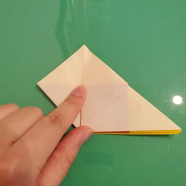 折り紙のひまわり 立体的で少し難しい作り方折り方②折る(7)