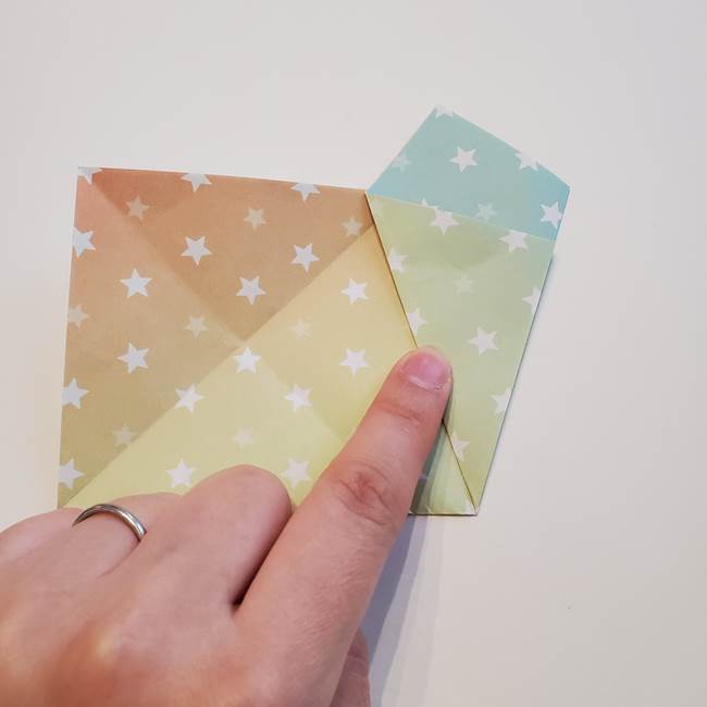 折り紙の星型の切り方折り方①折る(9)