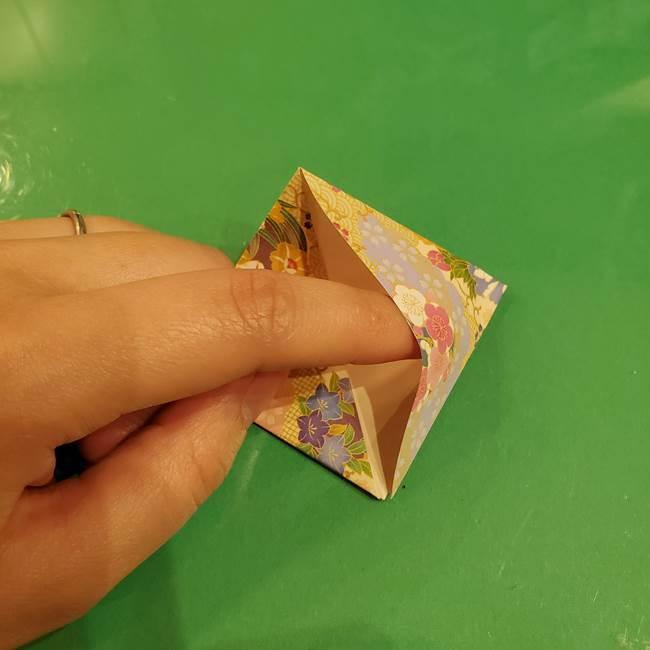 お月見団子の台の折り紙★三宝(三方)の折り方作り方(16)