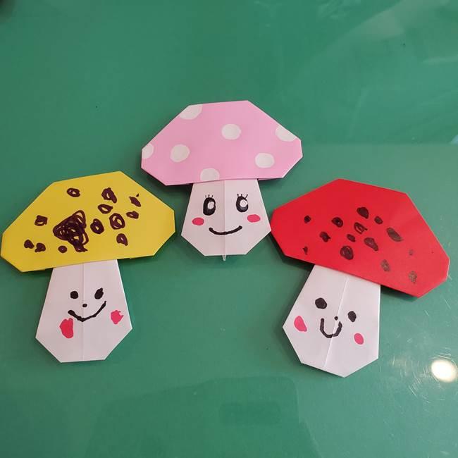 きのこの折り紙は簡単に子供と作れる!3歳児の年少さんと折り方作り方を紹介