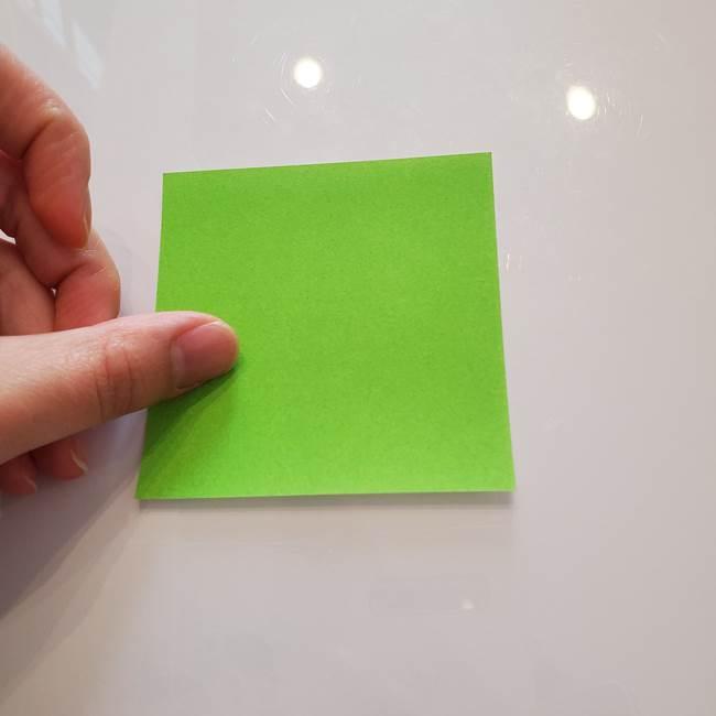 ほおずきの折り紙(平面) 簡単な折り方作り方②茎(1)