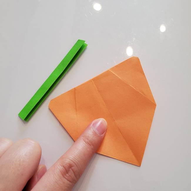 ほおずきの折り紙(平面) 簡単な折り方作り方②茎(5)