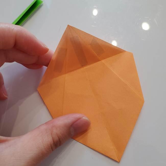 ほおずきの折り紙(平面) 簡単な折り方作り方②茎(6)