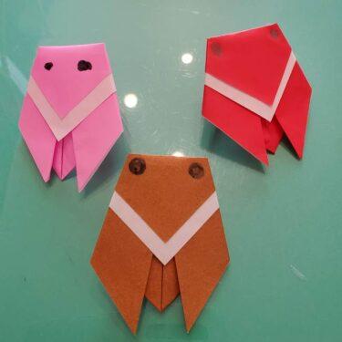 セミの折り紙製作 3歳の子供でも簡単!かわいい虫の折り方作り方