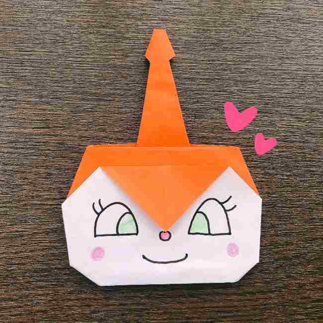 ドキンちゃんの折り紙(顔)折り方作り方は簡単かわいいアンパンマンキャラクター
