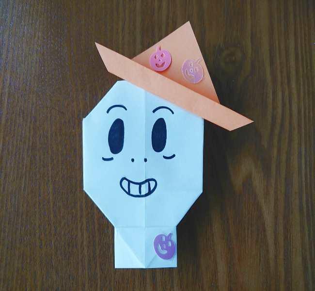 ハロウィン仕様のホラーマンの折り紙☆帽子の作り方