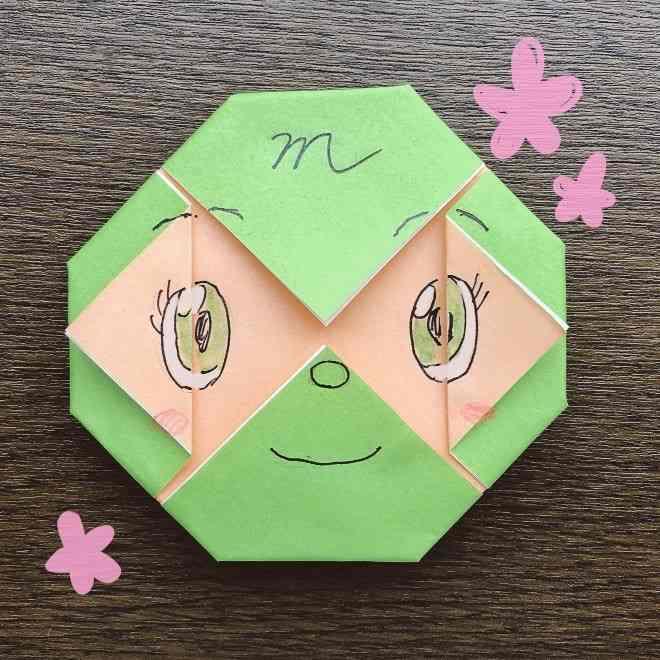メロンパンナちゃんの折り方☆折り紙で簡単な顔の作り方【アンパンマン】