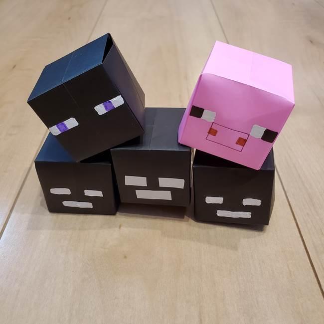 折り紙マイクラのウィザー★簡単にエンダーマンや豚の折り方にも!