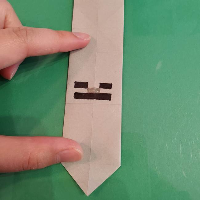 折り紙マイクラのクリーバーとスケルトンは同じ折り方で作れる!
