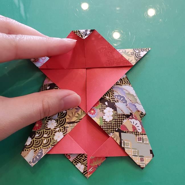 折り紙 縁起物の亀(立体)の折り方作り方(17)