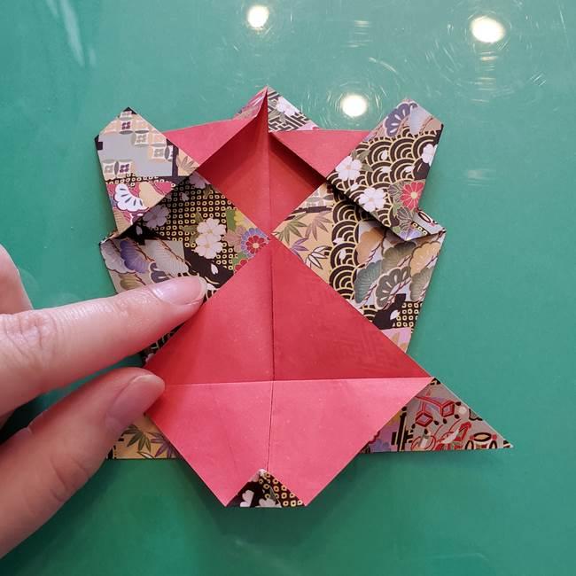折り紙 縁起物の亀(立体)の折り方作り方(18)