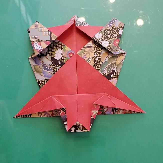 折り紙 縁起物の亀(立体)の折り方作り方(21)
