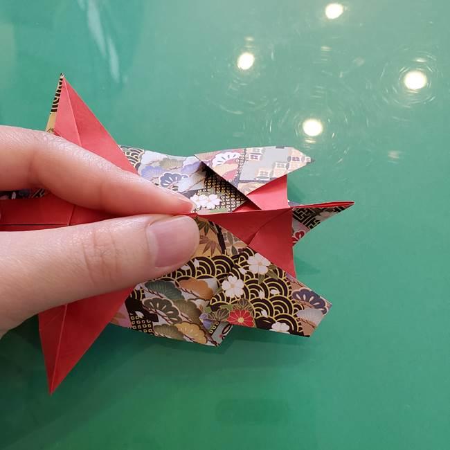 折り紙 縁起物の亀(立体)の折り方作り方(23)