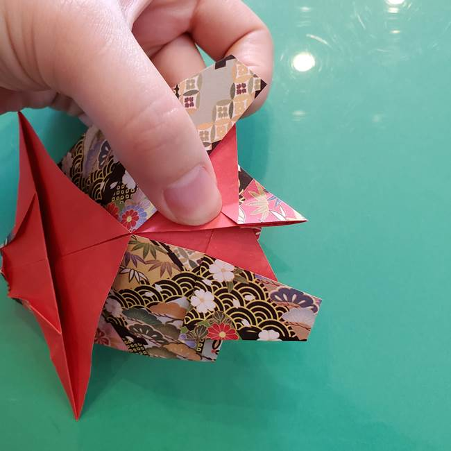折り紙 縁起物の亀(立体)の折り方作り方(26)