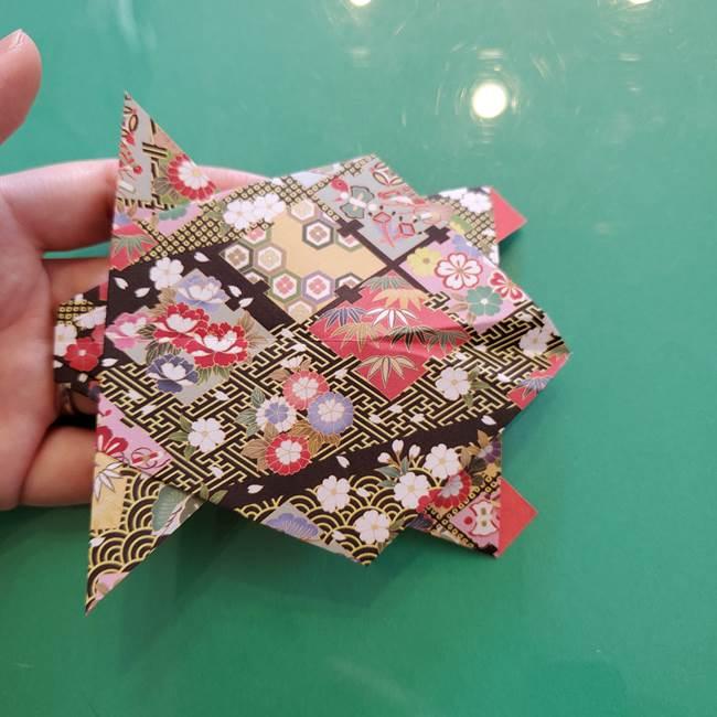 折り紙 縁起物の亀(立体)の折り方作り方(27)