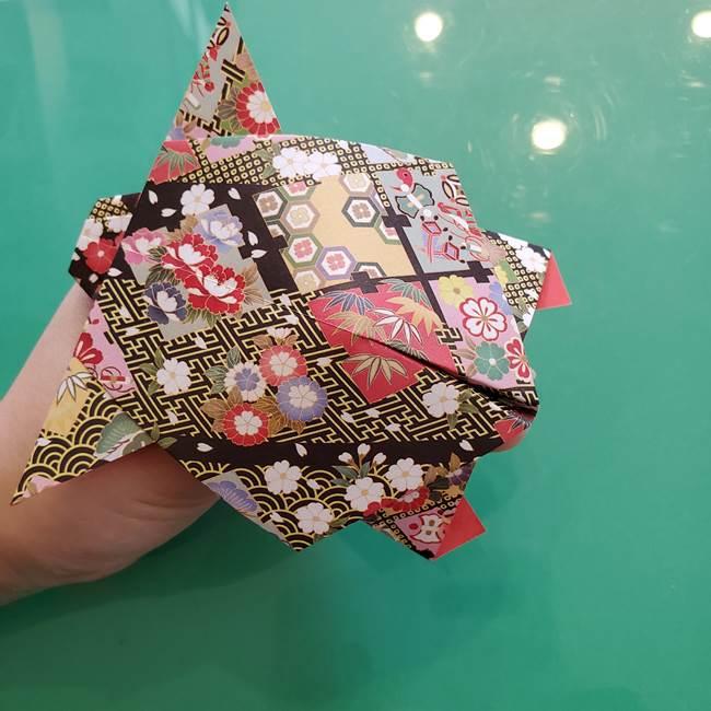 折り紙 縁起物の亀(立体)の折り方作り方(28)