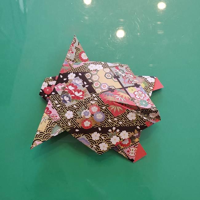 折り紙 縁起物の亀(立体)の折り方作り方(29)