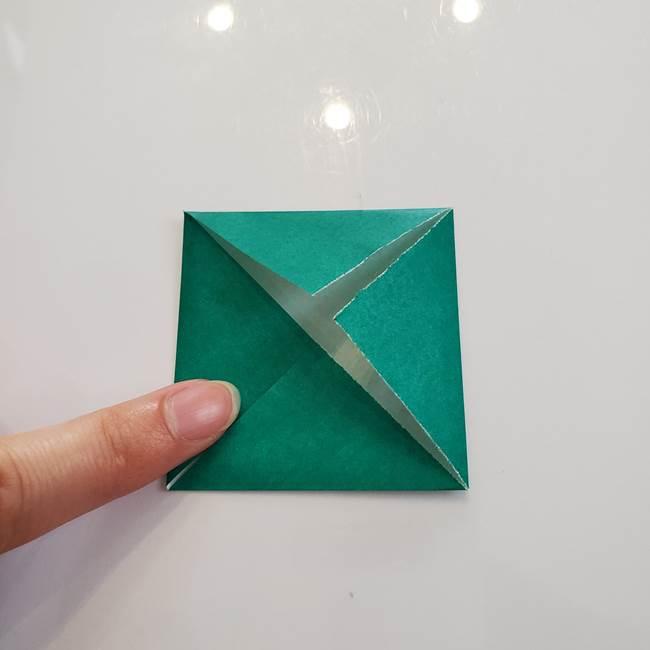 柿の葉っぱの折り紙 折り方作り方(平面)(5)