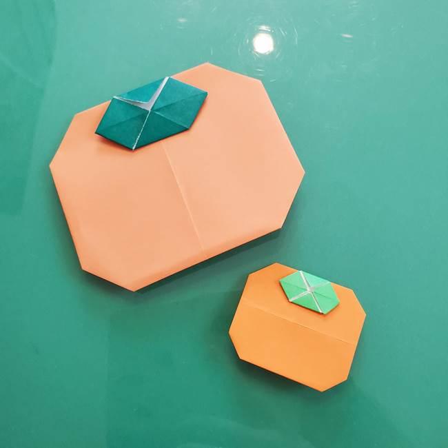 柿の葉っぱの折り紙 簡単な折り方作り方(平面)★添えるとかわいい仕上がりに!