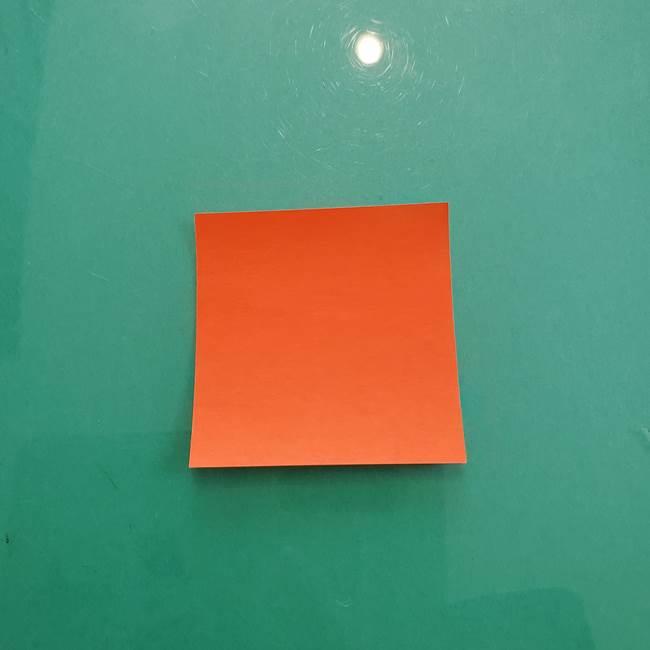 11月の折り紙 柿の壁面フレームの作り方①柿の折り紙(1)