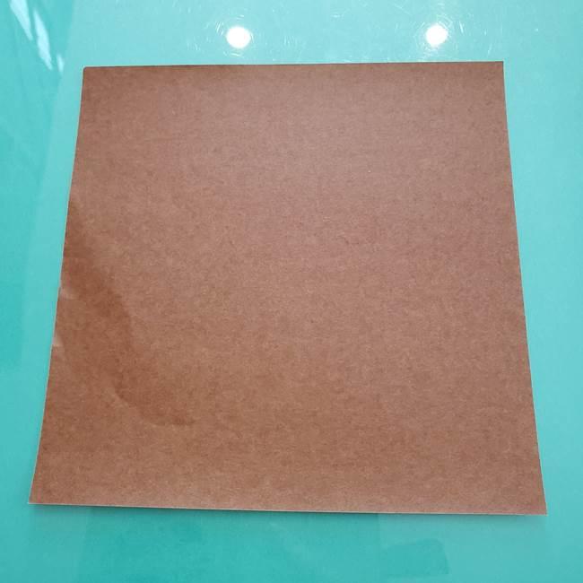 11月の折り紙 柿の壁面フレームの作り方③壁面フレームの折り紙(1)