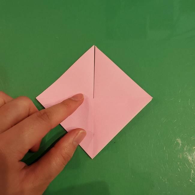 うさぎの折り紙 簡単で幼稚園年長からOK!折り方作り方①顔(11)