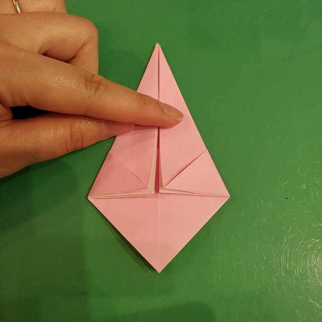 うさぎの折り紙 簡単で幼稚園年長からOK!折り方作り方①顔(12)