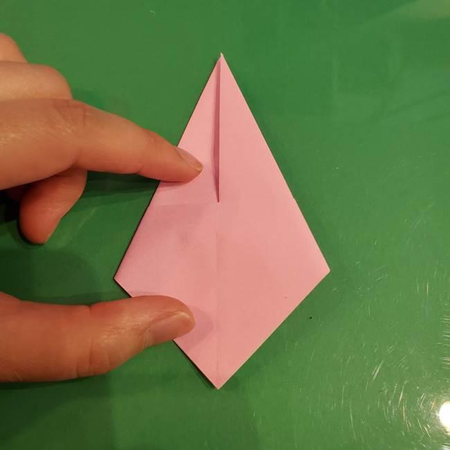 うさぎの折り紙 簡単で幼稚園年長からOK!折り方作り方①顔(13)