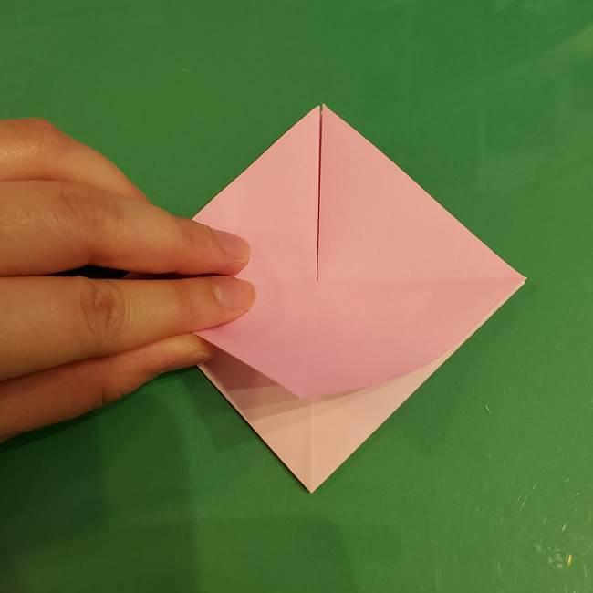 うさぎの折り紙 簡単で幼稚園年長からOK!折り方作り方①顔(9)