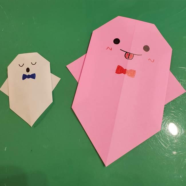 おばけの折り紙 簡単に3歳児も折れた作り方折り方★年少年中のハロウィン制作に!