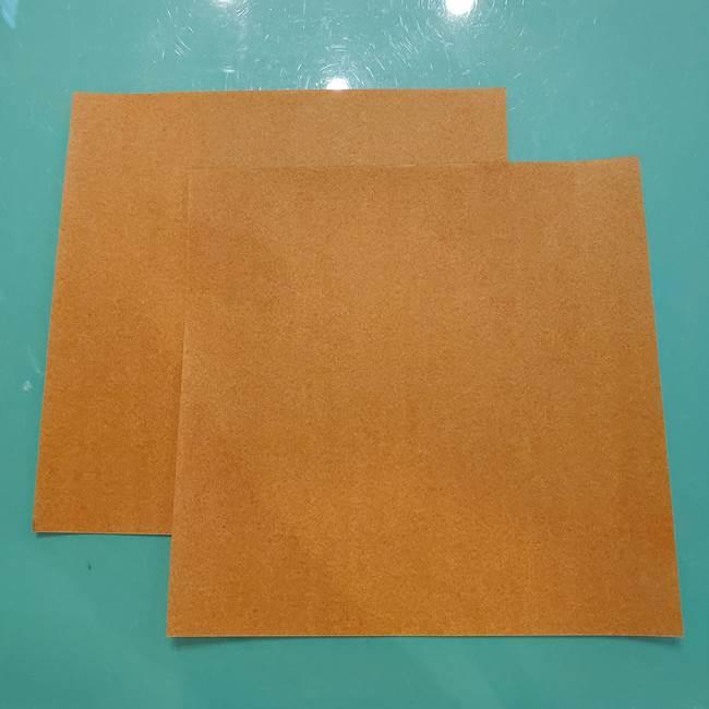 お月見たぬきの折り紙リースの作り方②たぬき(1)