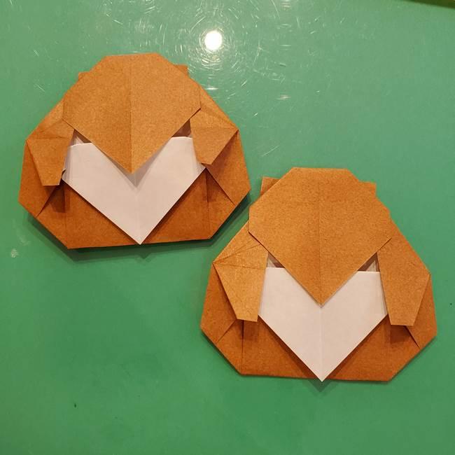 お月見たぬきの折り紙リースの作り方②たぬき(3)