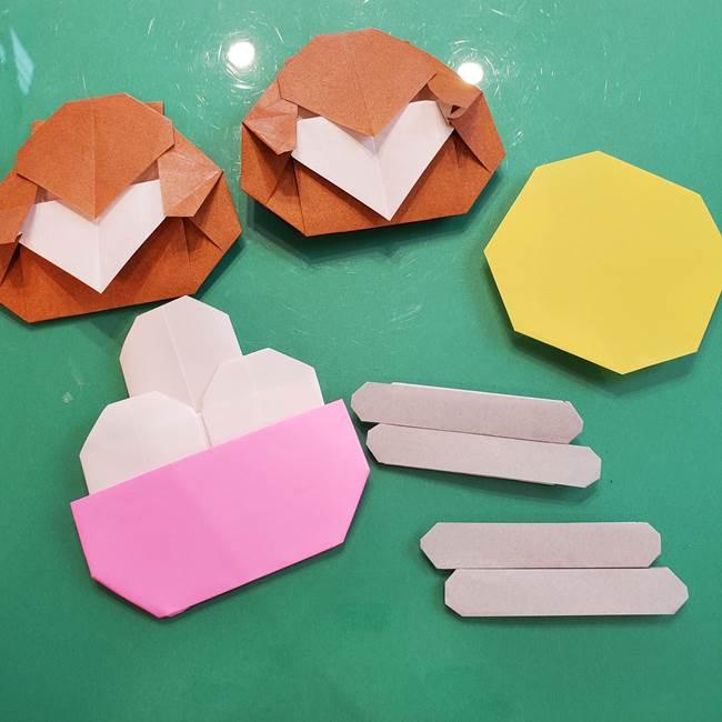 お月見たぬきの折り紙リースの作り方⑤完成(1)