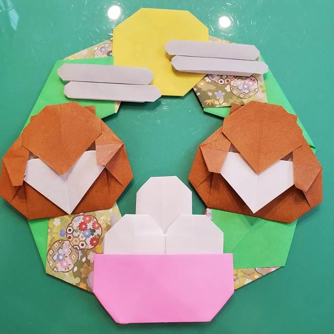 お月見たぬきの折り紙リースの作り方⑤完成(2)