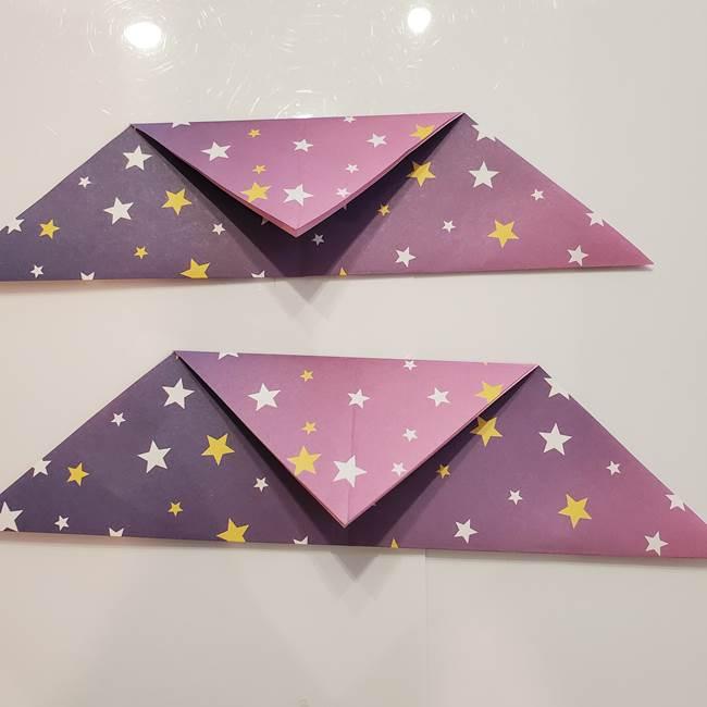お月見の折り紙「うさぎの餅つき」簡単なリースの折り方作り方①リース(3-1)