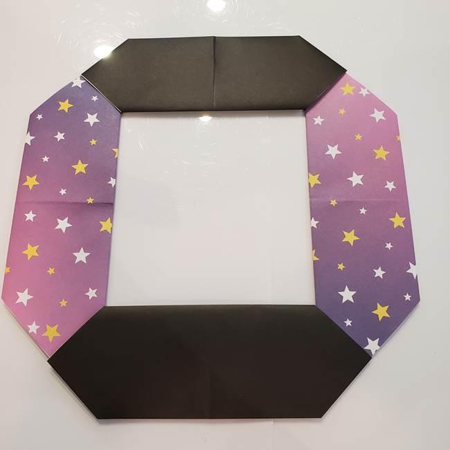 お月見の折り紙「うさぎの餅つき」簡単なリースの折り方作り方①リース(4)
